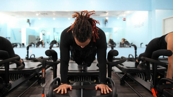 man works out at fitness studio in philadelphia